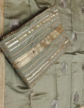 mehndi top -modal silk   bottom + inner- heavy santoon   dupatta - dyable chanderi with heavy embroidery work  fabric sequence  work festive