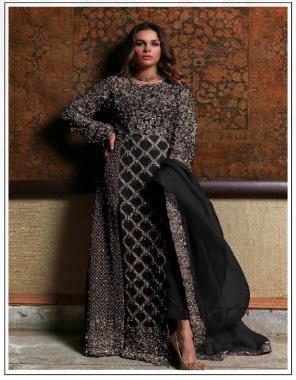 black top -georgette | bottom + inner - santoon | dupatta - chiffon fabric sequence zari embroidery work wedding