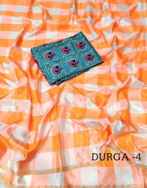 orange saree  - sana silk | blouse - heavy embroidery mirror fabric plain work wedding