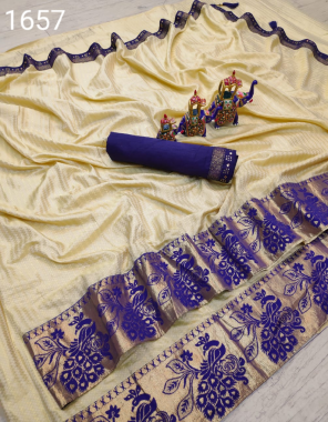 cream saree -zikzek   blouse - banglori silk fabric jacqaurd border  work ethnic
