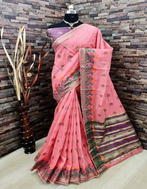 pink pure linen silk fabric jacqaurd weaving work wedding
