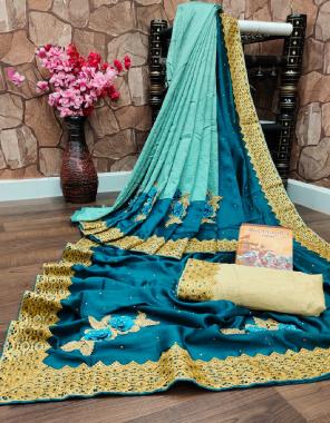 cream sky  saree -pure dola silk | blouse - banglori silk fabric patch diamnod work work ethnic
