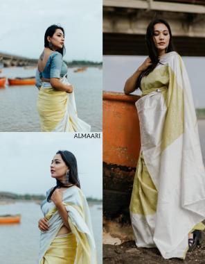 cream banarasi silk fabric weaving jacqaurd  work festive