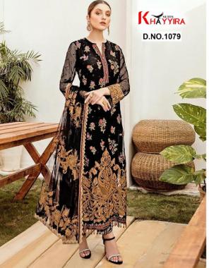 black top - georgette   bottom + inner -santoon silk   dupatta - butterfly net fabric embroidery sequence  work party wear