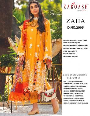orange top  -jam cotton | bottom - cotton | dupatta -chiffon  fabric embroidery sequence  work festive