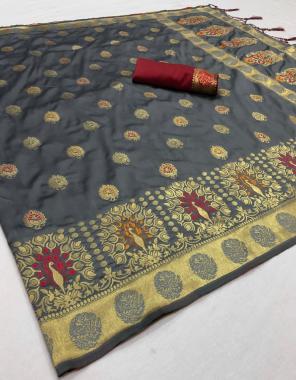 grey art weaving silk fabric weaving jacqaurd  work ethnic