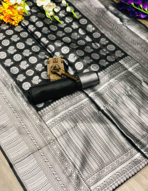 black soft lichi silk fabric silver weaving  work ethnic