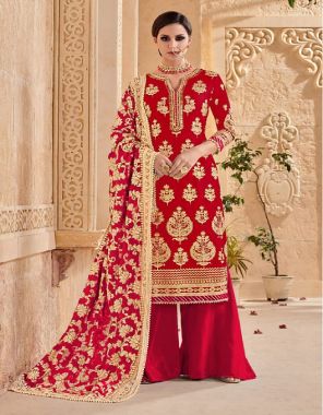 red top -heavy georgette | bottom + inner  -santoon | dupatta -chinon silk fabric embroidery lace on daman  work wedding