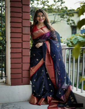 blue pure soft lichi silk fabric jacqaurd border  work ethnic