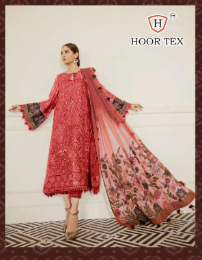 light red top - fox georgette   bottom + inner - santoon   dupatta - heavy net  size - 56 (8xl)   type -semi stitch fabric embroidery sequence  work casual