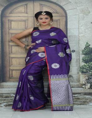 purple pure lichi silk fabric jacqaurd weaving  work running