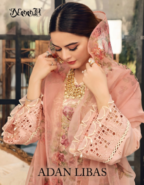 orange top - pure cotton with self embroidery   bottom inner -semi lawn   dupatta - tebby silk digital print (pakistani copy) fabric embroidery digital print  work ethnic
