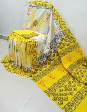 yellow  soft linen digital print  fabric digital print work running