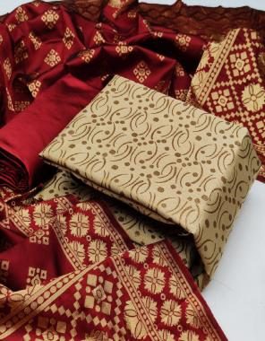 cream  top - banarasi silk 2m | bottom - tapeta silk 2m | dupatta - banarasi silk 2.10m fabric jacqaurd weaving  work wedding