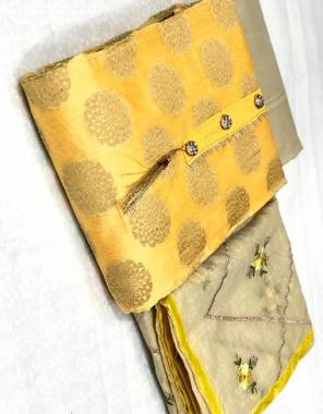 yellow  top - banarasi | bottom + inner - santoon | dupatta - chanderi embroidery fabric jacqaurd weaving  work casual
