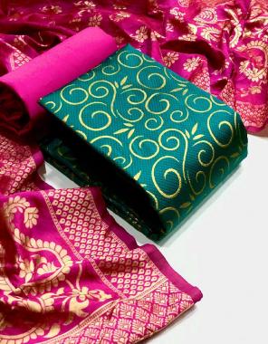 rama top - banarasi silk (2m )50panna   bottom - heavy silk (2m) 56panna   dupatta - jacqaurd weaving (2.30m)24panna  fabric jacqaurd weaving  work wedding