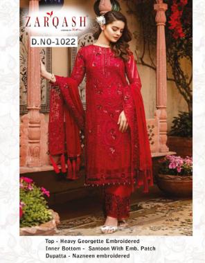 red top -georgette | bottom + inner -santoon | dupatta - nazmeen fabric embroidery  work wedding