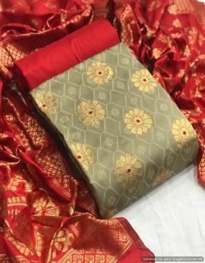 cream  top - banarasi silk (2m )50panna | bottom - heavy silk (2m) 56panna | dupatta - jacqaurd weaving (2.30m)24panna  fabric jacqaurd weaving  work party wear