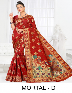 red premium silk fabric weaving jacqaurd  work wedding