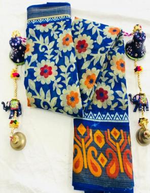 blue  linen cotton fabric printed work ethnic