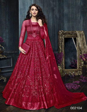 red top - net with embroidery stone | bottom - banglori satin | lehenga - banglori satin lace | inner - santoon | dupatta - net with embroidery stone work | type - semi stitch | size - 44 | length - 56+ | flair - 3.5m  fabric embroidery stone  work party wear