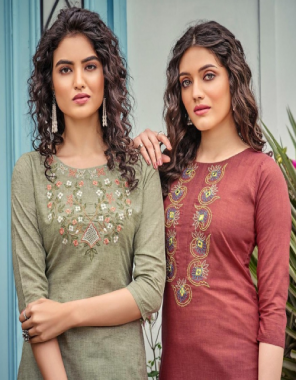 mahendi top - pure bijiliji cotton with classicembroidery work length - 46+ fabric embroidery work running