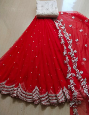 red lehenga - organza 3m   blouse - banglori satin 1m   dupatta - organza 2.20m fabric embroidery  work running