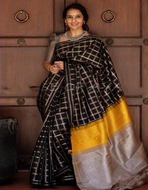 black soft lichi silk fabric weaving jacqaurd  work casual