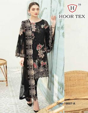 black  top - heavy georgette | bottom + inner - santoon | dupatta - nazmin | size - 56 (7xl) | type - semi stitch fabric embroidery  work ethnic