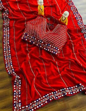 red saree -soft georgette | blouse - heavy satin banglori readymade size upto42 (38-44margin) fabric kodi mirror embroidery work ethnic