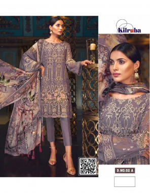 purple top - georgette with embroidery work | bottom + inner- santoon |dupatta -tabby silk | type -semi stitch | size -fit upto 56 fabric embroidery  work running