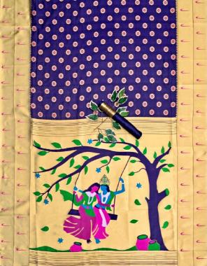 purple soft lichi silk fabric jacqaurd weaving work festive
