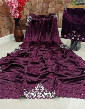 wine  heavy crepe silk fabric embroidery tread  work casual
