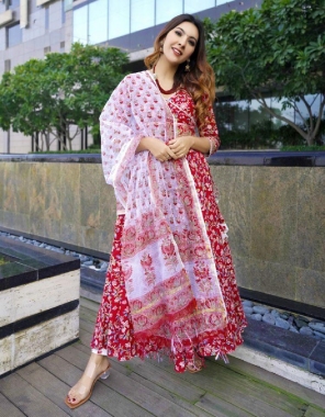 red rayon   top length -50   bottom length -38   dupatta -2.10 fabric printed work party wear