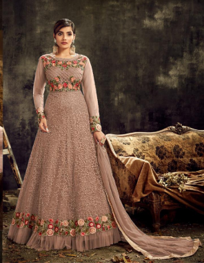 chiku top - heavy net with embroidery work | sleeve - net with embroidery | bottom + inner -santoon | dupatta - nazmin chiffon | length - max upto 54 | size -max upto44 | type -semi stitch  fabric embroidery stone work work running