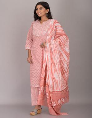 orange  cotton cambric kurti length 43 | pant length 39 | dupatta -2.4m fabric printed work party wear