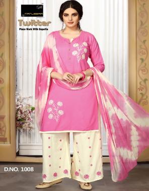 pink rayon top with palazzo | nazmin shiburi dupatta fabric printed work running