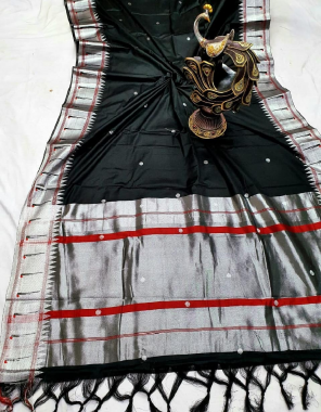 black soft lichi silk fabric jacqaurd weaving work ethnic