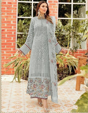 grey top - heavy georgette   bottom +inner - santoon   dupatta - nazmeen with embroidery   size - max upto 60   length - max upto 48   type- semi stitch fabric embroidery sequence work work casual