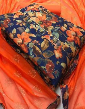 blue  top -modal silk | bottom + inner- cotton | dupatta - chiffon with heavy foli print  fabric printed work casual