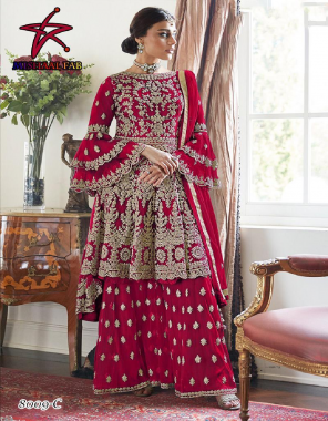 dark pink  top - heavy net with embroidery   sleeve - net embroidery   inner- santoon   palazo-heavy net   dupatta -net   size - 42inch   type - semi stitch  fabric embroidery dimaond  work party wear