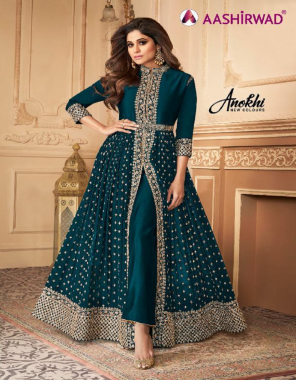dark rama top -georgette | bottom + inner - santoon | dupatta -nazling fabric embroidery  work wedding