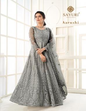 grey top -butterfly net | bottom + inner - silk satin | dupatta - butterfly net fabric embroidery work ethnic