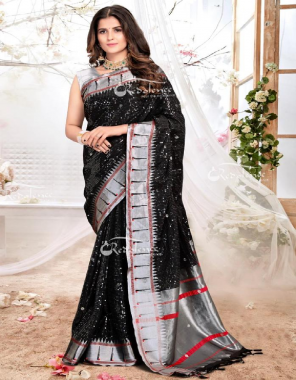 black  paithani silk fabric silver weaving with heavy sequence  work wedding