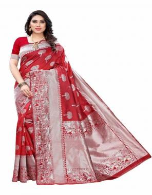 red soft lichi silk fabric weaving jacqaurd  work festive