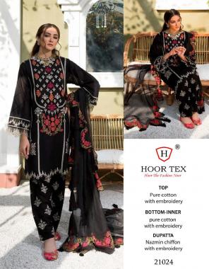 black  top - pure cotton | bottom - semi lawn | dupatta -nazmeen | size -62(10xl) | type - semi stitch fabric embroidery work ethnic