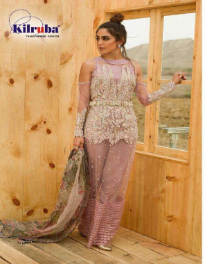 peach top - super net embroidery sequence pearl including sleeve | bottom + inner - santoon | dupatta - organza | type - semi stitch | size -fit upto 54 | length -50 fabric embroidery sequence pearl work party wear