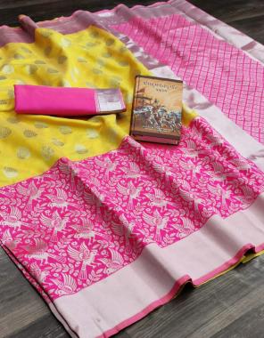yellow pink soft kanjivaram kanchi pattu silk fabric weaving jacqaurd  work wedding