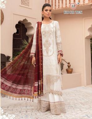 white top -lawn cotton | bottom -semi lawn | dupatta - chiffon with print  fabric embroidery printed work wedding