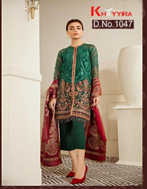 green top - georgette   bottom + inner - santoon   dupatta - muslin digital print  fabric embroidery work ethnic